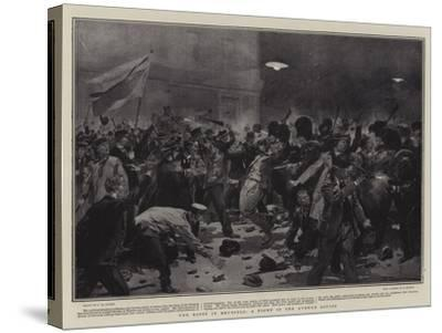 The Riots in Brussels, a Fight in the Avenue Louise-Frederic De Haenen-Stretched Canvas Print