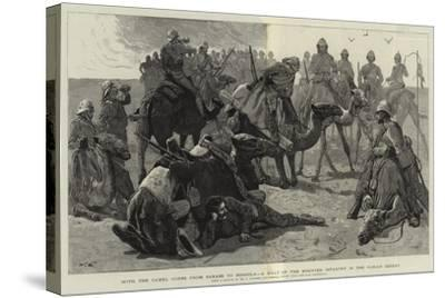 With the Camel Corps from Sarass to Dongola, a Halt of the Mounted Infantry in the Nubian Desert-Frederic Villiers-Stretched Canvas Print