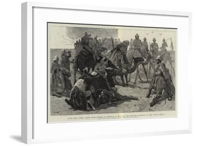 With the Camel Corps from Sarass to Dongola, a Halt of the Mounted Infantry in the Nubian Desert-Frederic Villiers-Framed Giclee Print