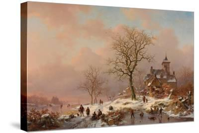 Winter Landscape with Figures Playing on the Ice, 1868-Frederick Marianus Kruseman-Stretched Canvas Print