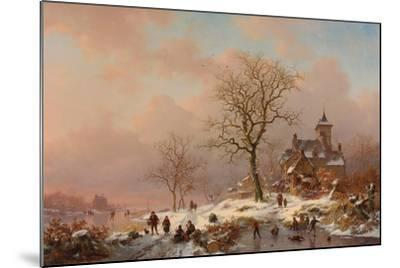 Winter Landscape with Figures Playing on the Ice, 1868-Frederick Marianus Kruseman-Mounted Giclee Print