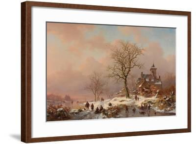 Winter Landscape with Figures Playing on the Ice, 1868-Frederick Marianus Kruseman-Framed Giclee Print