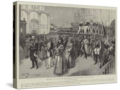 The Coronation of the Czar, the Imperial Procession Leaving the Cathedral of the Annunciation-Frederic De Haenen-Stretched Canvas Print