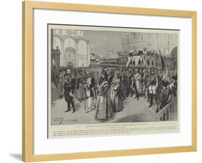 The Coronation of the Czar, the Imperial Procession Leaving the Cathedral of the Annunciation-Frederic De Haenen-Framed Giclee Print