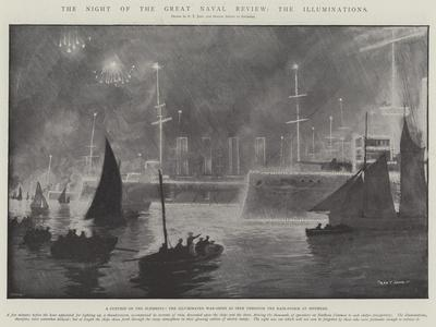 The Night of the Great Naval Review, the Illuminations-Fred T. Jane-Framed Giclee Print