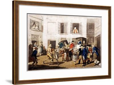 Inn Yard at Calais, Pub. by William Holland, London, 1790 (Hand-Coloured Aquatint)-Frederick George Byron-Framed Giclee Print