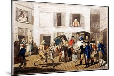Inn Yard at Calais, Pub. by William Holland, London, 1790 (Hand-Coloured Aquatint)-Frederick George Byron-Mounted Giclee Print