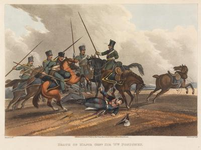 Death of Major General Sir William Ponsonby, Engraved by M. Dubourg, 1819 (Coloured Aquatint)-Franz Joseph Manskirch-Framed Giclee Print