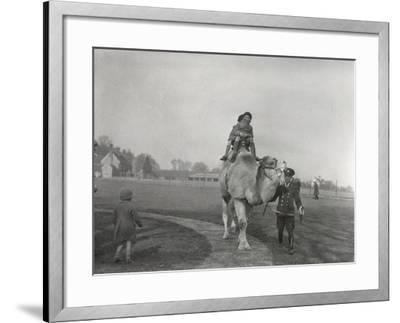 An Arabian Camel Taking a Pair of Children for a Ride at Zsl Whipsnade, March 1932-Frederick William Bond-Framed Photographic Print