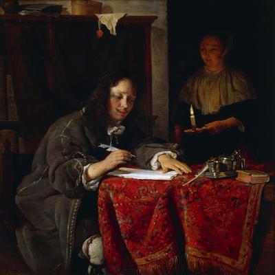 The Writer-Gabriel Metsu-Framed Giclee Print