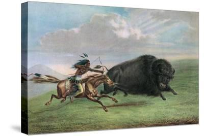 Print after Buffalo Hunt by George Catlin, C.1920-George Catlin-Stretched Canvas Print