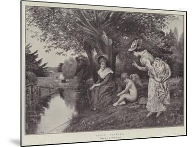 Cupid Fishing-George Adolphus Storey-Mounted Giclee Print