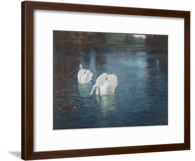 Swans on the River, C.1880-Fritz Thaulow-Framed Giclee Print