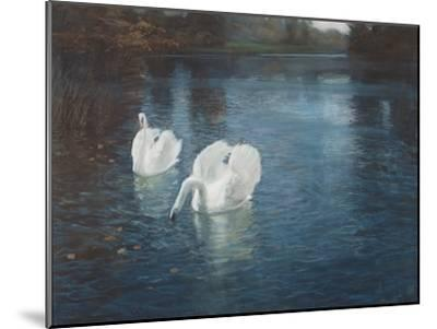 Swans on the River, C.1880-Fritz Thaulow-Mounted Giclee Print