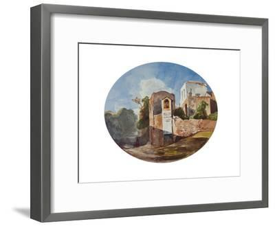 Roadside Shrine, with Additions by a Borbone Pupil, 1853 (Pencil, W/C and Gouache on Paper)-Giacinto Gigante-Framed Giclee Print