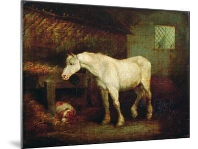 An Old Grey Mare at a Manger-George Morland-Mounted Giclee Print