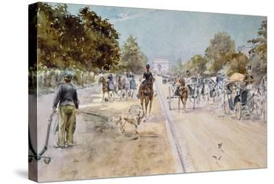 Carriages on the Champs Elysees-Georges Stein-Stretched Canvas Print