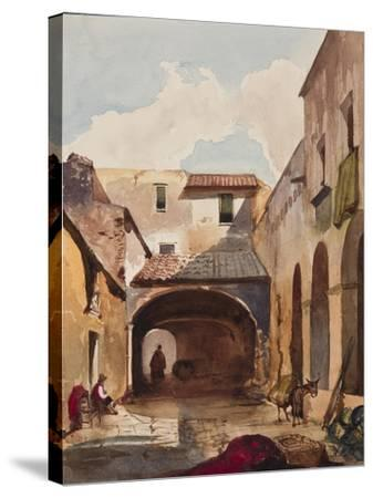 Passage and Street with Figures-Giacinto Gigante-Stretched Canvas Print