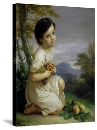 Portrait of Lena Presti with Fruit, 1830-1840-Giacomo Trecourt-Stretched Canvas Print
