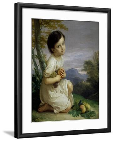 Portrait of Lena Presti with Fruit, 1830-1840-Giacomo Trecourt-Framed Giclee Print