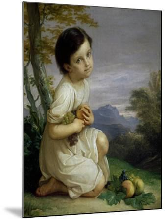 Portrait of Lena Presti with Fruit, 1830-1840-Giacomo Trecourt-Mounted Giclee Print