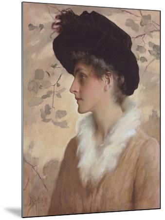 Portrait of a Lady, Half-Length, Wearing a Black Hat and Fur Stole, 1888 (Pencil and W/C on Paper)-George Henry Boughton-Mounted Giclee Print
