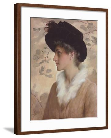 Portrait of a Lady, Half-Length, Wearing a Black Hat and Fur Stole, 1888 (Pencil and W/C on Paper)-George Henry Boughton-Framed Giclee Print