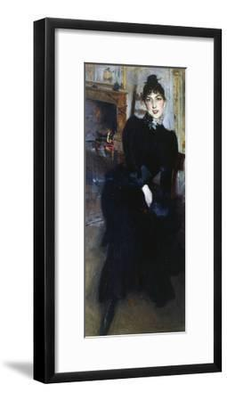 Alaide Banti at the Fireplace-Giovanni Boldini-Framed Giclee Print