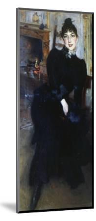 Alaide Banti at the Fireplace-Giovanni Boldini-Mounted Giclee Print