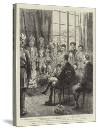 International Amenities, Afternoon Tea with the Youngest Son of the Amir of Afghanistan-Godefroy Durand-Stretched Canvas Print