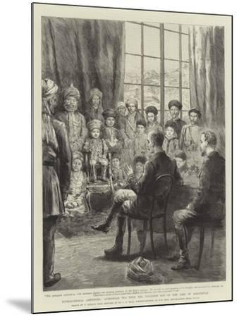 International Amenities, Afternoon Tea with the Youngest Son of the Amir of Afghanistan-Godefroy Durand-Mounted Giclee Print