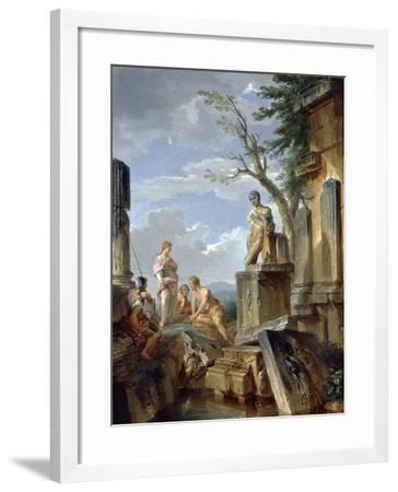 Ruins with a Sibyl and Other Figures, C.1720-Giovanni Paolo Pannini-Framed Giclee Print