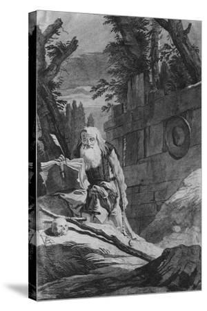 St Hilarion-Giovanni Battista Tiepolo-Stretched Canvas Print