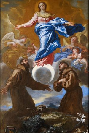 The Immaculate Conception with Saints Francis of Assisi and Anthony of Padua, 1650-Giovanni Benedetto Castiglione-Premium Giclee Print