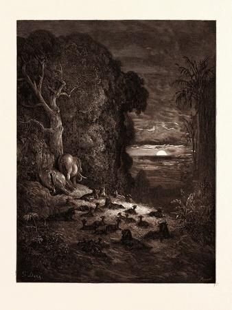The Seventh Evening in Eden-Gustave Dore-Framed Giclee Print