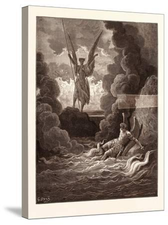 Satan and Beelzebub-Gustave Dore-Stretched Canvas Print