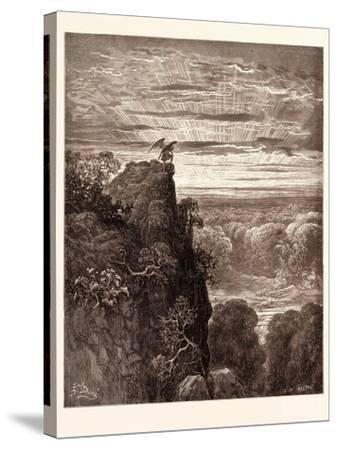 Satan Overlooking Paradise-Gustave Dore-Stretched Canvas Print
