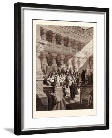 Daniel Interpreting the Writing on the Wall, by Gustave Doré, 1832 - 1883-Gustave Dore-Framed Giclee Print