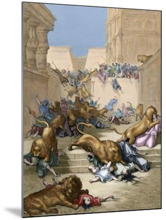 Old Testament. People Devoured by Lions in Samaria-Gustave Dore-Mounted Giclee Print