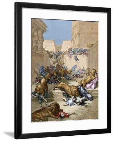 Old Testament. People Devoured by Lions in Samaria-Gustave Dore-Framed Giclee Print