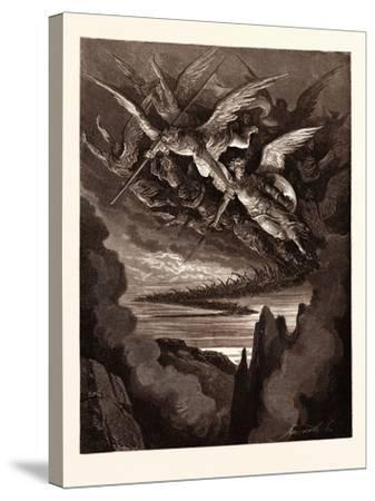 The Fallen Angels on the Wing-Gustave Dore-Stretched Canvas Print