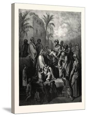 Christ Blessing the Children-Gustave Dore-Stretched Canvas Print