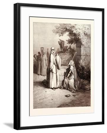 Eliezer and Rebekah-Gustave Dore-Framed Giclee Print