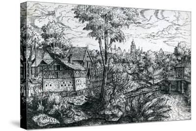 Bridge Near a Watermill, 1553-Hanns Sebald Lautensack-Stretched Canvas Print