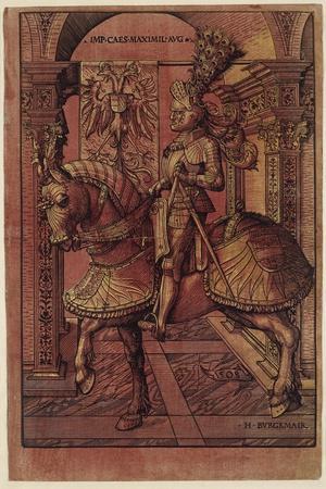 Emperor Maximilian I, Armed on Horseback, 1508-Hans Burgkmair-Stretched Canvas Print