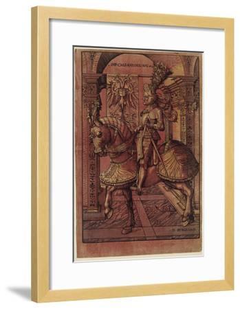 Emperor Maximilian I, Armed on Horseback, 1508-Hans Burgkmair-Framed Giclee Print