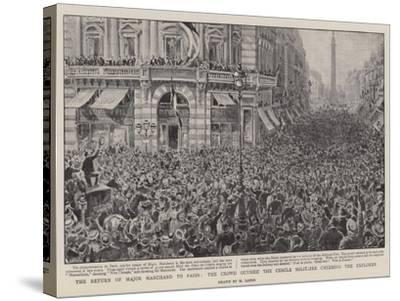 The Return of Major Marchand to Paris, the Crowd Outside the Cercle Militaire Cheering the Explorer-Henri Lanos-Stretched Canvas Print