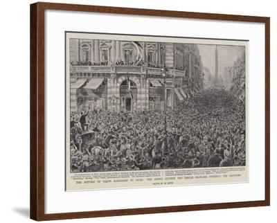 The Return of Major Marchand to Paris, the Crowd Outside the Cercle Militaire Cheering the Explorer-Henri Lanos-Framed Giclee Print