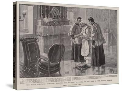 The Pope's Ninetieth Birthday, Assisting His Holiness to Kneel at the Mass in the Private Chapel-Henri Lanos-Stretched Canvas Print