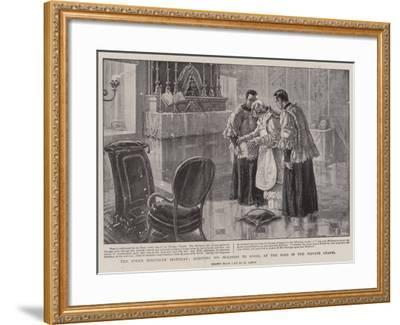 The Pope's Ninetieth Birthday, Assisting His Holiness to Kneel at the Mass in the Private Chapel-Henri Lanos-Framed Giclee Print